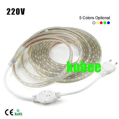 1//2//5//10M 5050 60 SMD  Waterproof IP67 Flexible LED Light Strip Lamp 220V XMAS