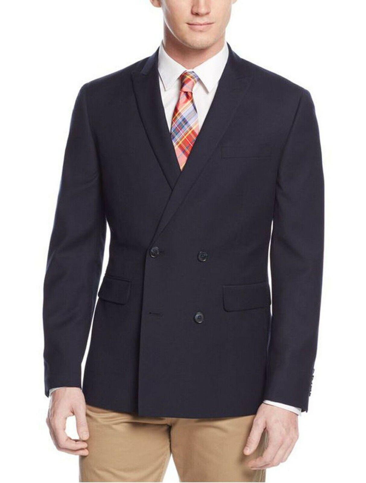 Bar III Slim Fit Navy Blau Double Breasted Sportcoat Blazer w  Peak Lapels 36S