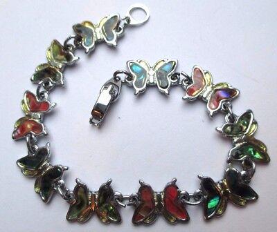 Imparato Bracelet Rétro Bijou Vintage Couleur Argent Maillons Papillons Abalone 1703