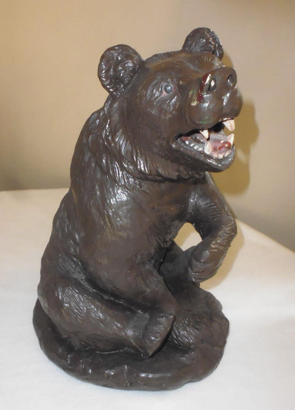 Grand Ours sculpture statue platre ancien animal haut  34 cm
