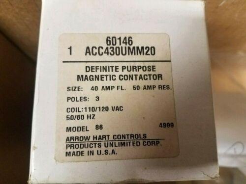 Arrow Hart Controls ACC430UMM20 Contactor Model 86  60146-NEW