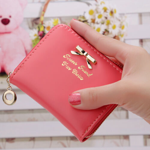 Womens Girl Leather Solid Purse Small Clutch Wallet Coin Card Holder Bow Zip Bag