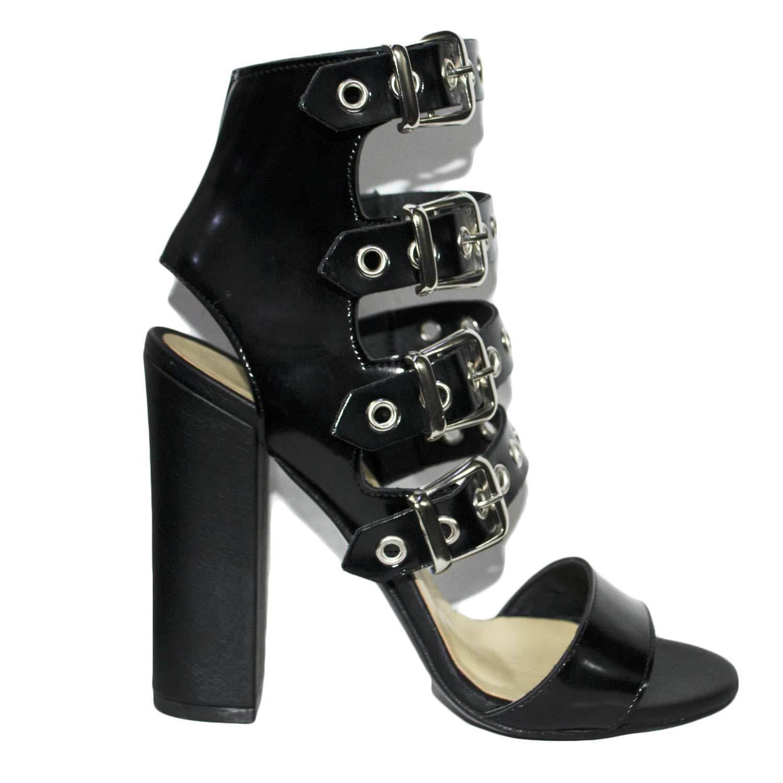 Sandali Sandali Sandali tacco doppio negro art.st9044 made in italy accessori fibbia plata moda  vendiendo bien en todo el mundo