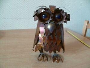 (ss8) Petite Sculpture Brutaliste Style Curtis Jere Chouette Hibou En Tole 20 Cm