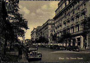 ROMA-Rom-1950-Cartolina-Italiana-Postkarte-Italien-Via-Vittorio-Veneto-Auto