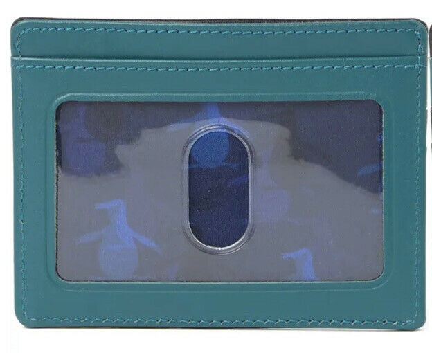Original Penguin Two-Tone Leather Card Case Black/Blue Wallet Men's NWT