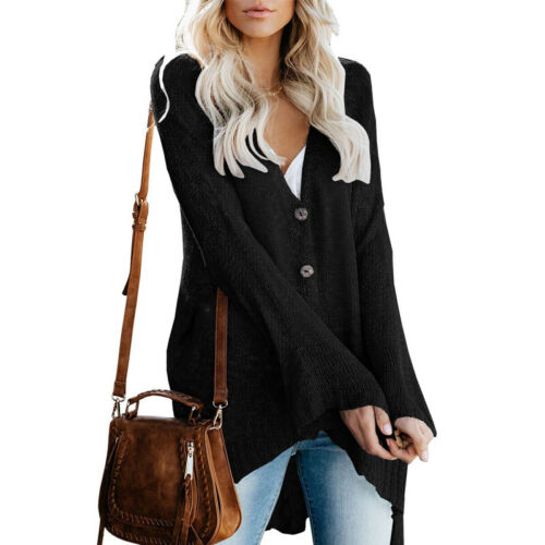 Women Sweater V-neck Long Bell Sleeve Knitted Loose Single Breasted Thin Coat