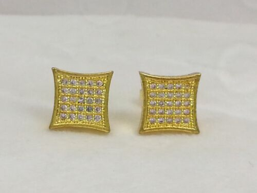 Real 14k Gold Clad .925 Sterling Silver Lab Diamonds Square Stud Earrings 10mm