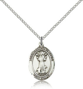 Saint-Francis-Of-Assisi-Medal-For-Women-925-Sterling-Silver-Necklace-On-18