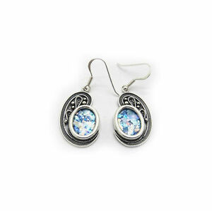 Exclusive Dangle Woman Earrings 925 Sterling Silver Ancient Roman Glass Jewelry