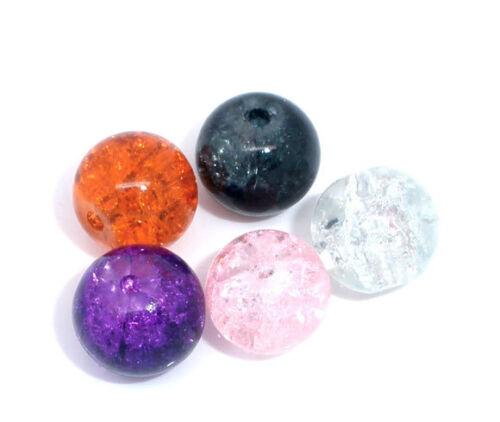 20 perles en verre craquelé 8 mm transparent  de couleurs au choix