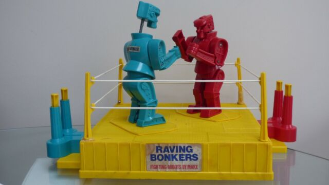 Rare Marx Toys Raving Bonkers The Boxing Fighting Robots Boxing Game Toy 70's