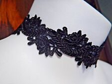 BLACK ROSE GARLAND LACE CHOKER ribbon band collar necklace Victorian Gothic T6