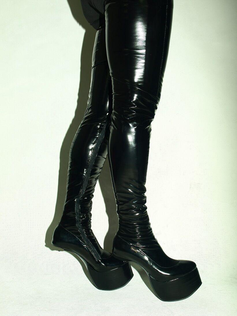 Pony De Goma Del Látex Fetiche Fetiche Fetiche de botas talla 4-12 plataforma 8cm-Polonia fs472  tienda de venta