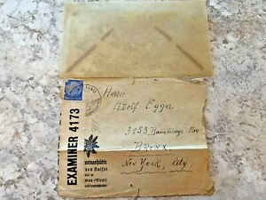 Vintage-Postage-Envelope-1940-Germany-to-New-York-City-Rare-Marks-Stamps