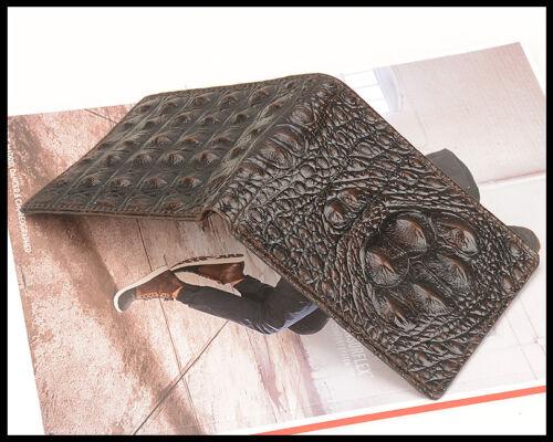 BACK-Bone Crocodile Alligator Vachette Véritable Cuir En Relief deux volets Hommes Portefeuille