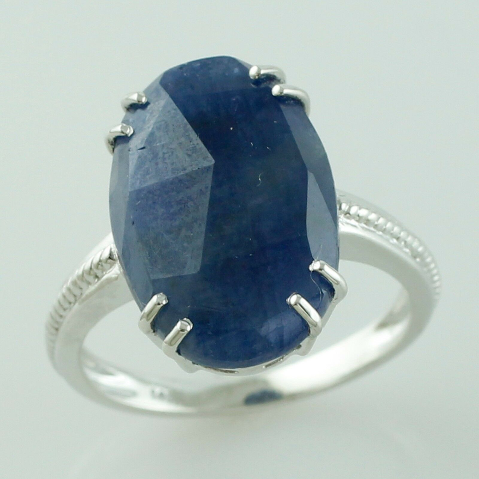 Indian Sapphire 7.88 Ct September Birthston Ring Solid gold Anniversary Jewelry