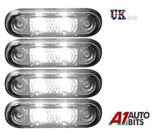 4x-24v-Flush-Fit-White-Led-Front-Side-Marker-Lamps-Lights-Truck-Van-Kelsa-Bar