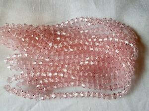 Joblot-of-10-strings-Pink-6mm-bicone-shape-Crystal-beads-new-wholesale