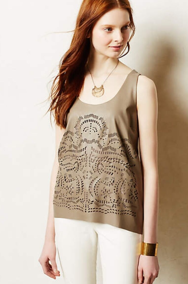 NEW Anthropologie taupe Lasercut Vegan Leather Tank Top Vest hi lo L