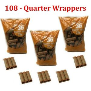 108-Preformed-Quarter-Tubes-Paper-Coin-Wrapper-25-Cent-Rolls-Counter-Shotgun
