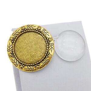 2pcs-Oro-Antico-vetro-rotondo-bianco-della-cornice-copertura-a-cupola-SPILLA-SPILLE-Accessori-Fai-da