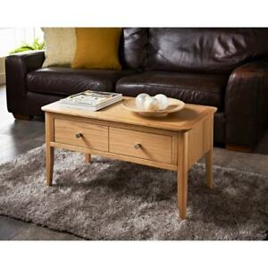 Details About Solid Oak Coffee Table Chunky Wooden Coffee Table With Drawers