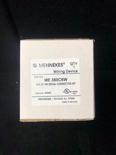 MENNEKES WIRING DEVICE 360C6W 60A 2P 3W 250VAC CONNECTOR WT