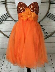 01195678e5 Image is loading Cinderella-Divine-Prom-Dress-Cheap-Orange-Sequin-Tulle-