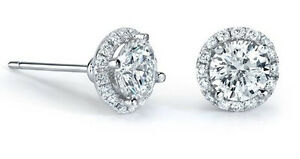 18Carat-White-Gold-Diamond-Solitaire-Halo-Cluster-Stud-Earrings-0-35-carats-GSI