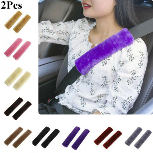 2PCS Car Plush Seat Belt Safety Strap Soft Shoulder Pad Harness Cover