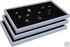 3 Black Ring Jewelry Display Case Orgnizer Insert New