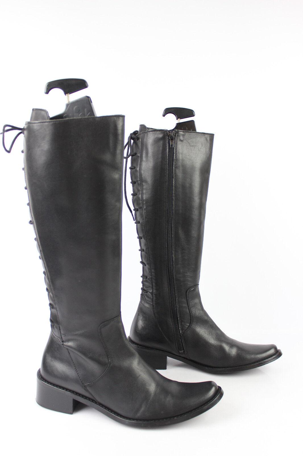 Stiefel Schnürsenkel schwarzes Leder guter Verdoppelt Leder T 38 sehr guter Leder Zustand 907b6c