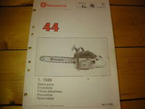 husqvarna 44 chainsaw,1988, illustrated parts list, chainsaw