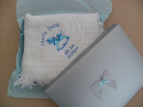 Personalised embroidered babys christening//birth shawl   rocking horse