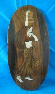 Rare-Vintage-Collectible-Bone-Fitted-Woman-Design-Wooden-Hanging-Panel-Must-See