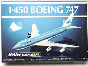 PRL-BOEING-747-KLM-AIR-MAQUETTE-MODEL-1-450-AEREO-AVION-PLANE-HELLER-HUMBROL