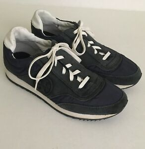 """b2f93bc07 Tory Burch Women s Navy Blue Suede Athletic Sneakers """"T"""" Logo ..."""