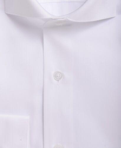 Mens Slim Fit Solid White Cutaway Collar Cotton Blend Dress Shirt