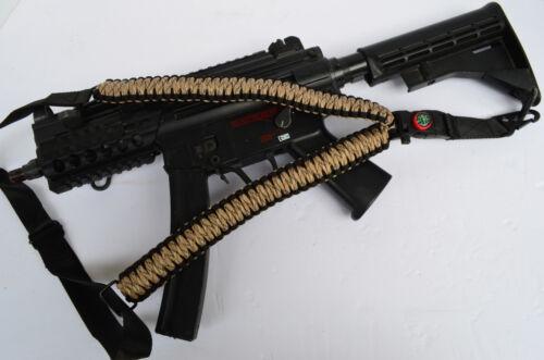 "DesertCamo 50/"" One Point 550 Paracord Rifle Gun Airsoft Sling w//Compass /& Flint"