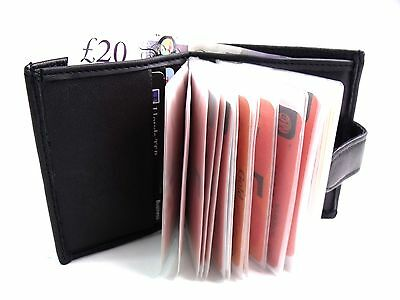 MENS SOFT BLACK REAL LEATHER CREDIT CARD HOLDER WALLET BANK NOTES HOLDS 24 CARDS