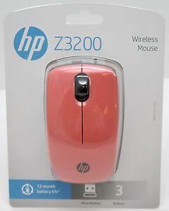 22a23ba38d6 NEW HP Z3200 Dusty Pink Wireless USB 3-Button Scroll Mouse w ...