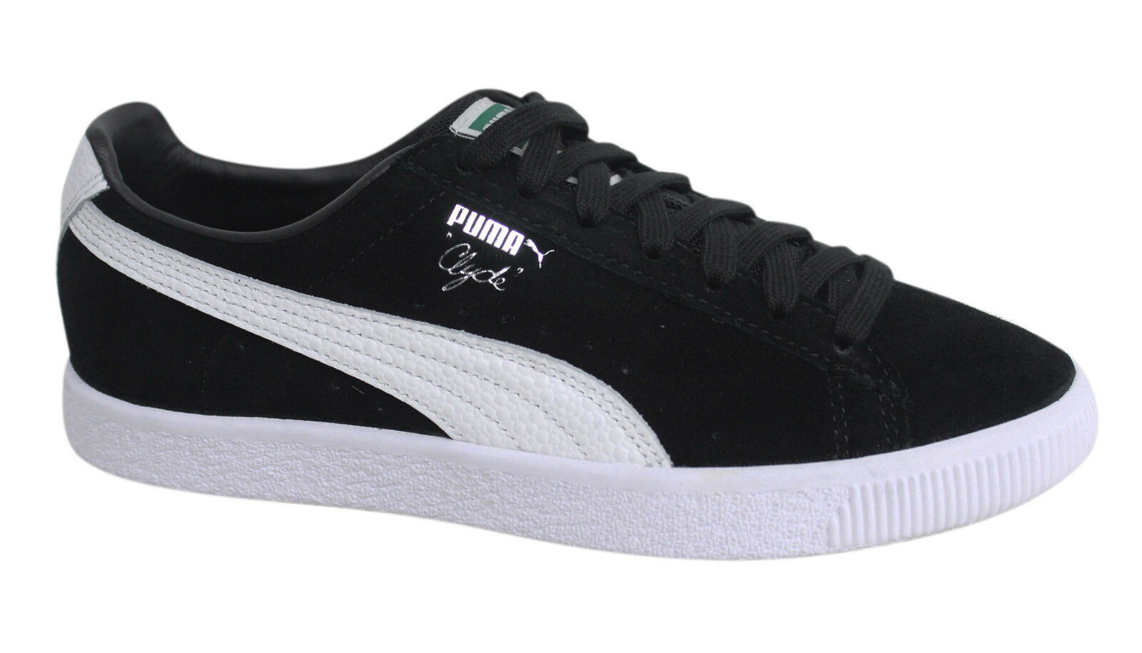 Puma Clyde Lace Up Black Leather Suede Mens Trainers 361703 01 D137