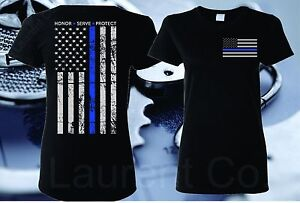 WOMEN-039-S-FIT-THIN-BLUE-LINE-OFFICERS-FLAG-POLICE-LIVES-MATTER-COPS-T-SHIRT
