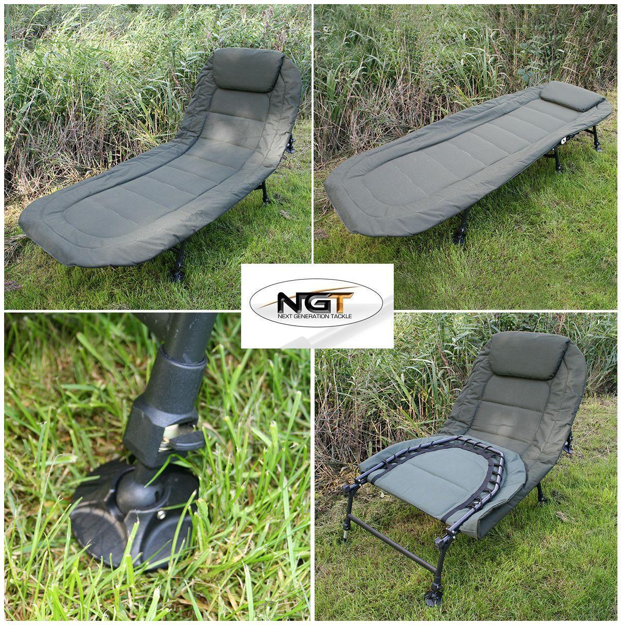 NGT Pesca De Carpa 6 Leg Reclinable Bedchair + Bolsa De Compresión Camo Sleeping Bag +