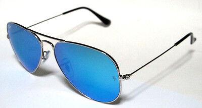 Brillante Ray Ban 3025 58 Aviator Silver Blue Mirror Argento Personalizzato Specchio Remix