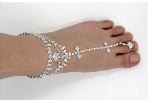 2 Pieces Womens Crystal Foot Chain Barefoot Sandals Beach Wedding Jewelry Anklet