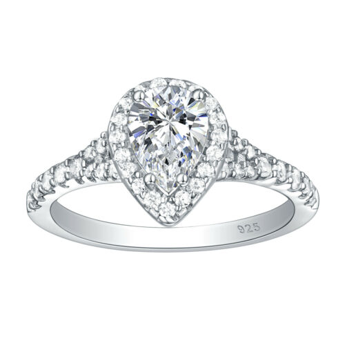 Engagement Wedding Ring For Women 2ct Pear White AAA Cz 925 Sterling Silver 5-10