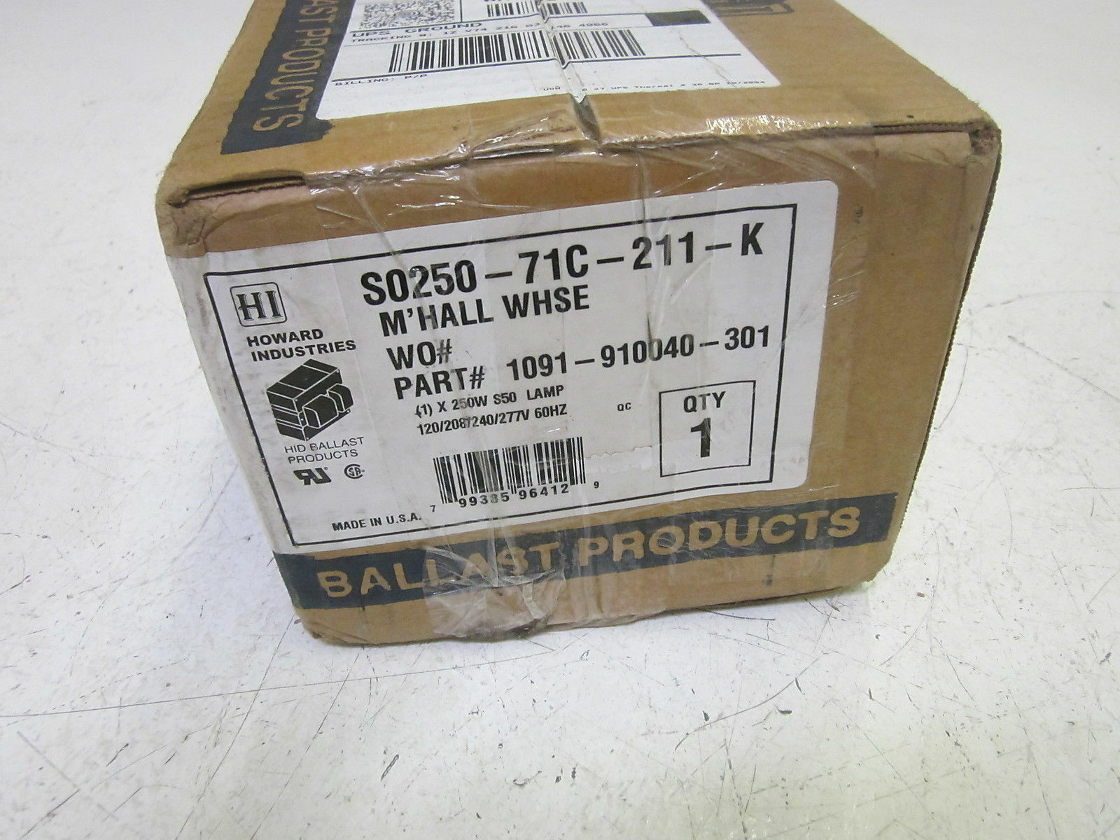 HOWARD INDUSTRIES S0250-71C-211-K   1091-910040-301 BALLAST KIT 277V NEW IN A