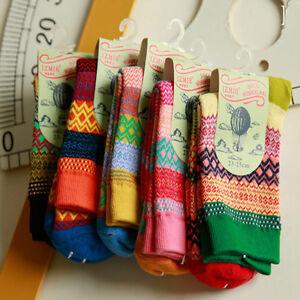 New Unisex Mens//Womens Fashion Multicolor Striped Winter Warm Soft Cotton Socks